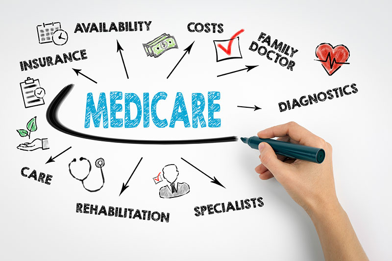 Infographic showing that medicare involves availability, insurance, care, rehabilitation, costs, family doctor, diagnostics, and specialists