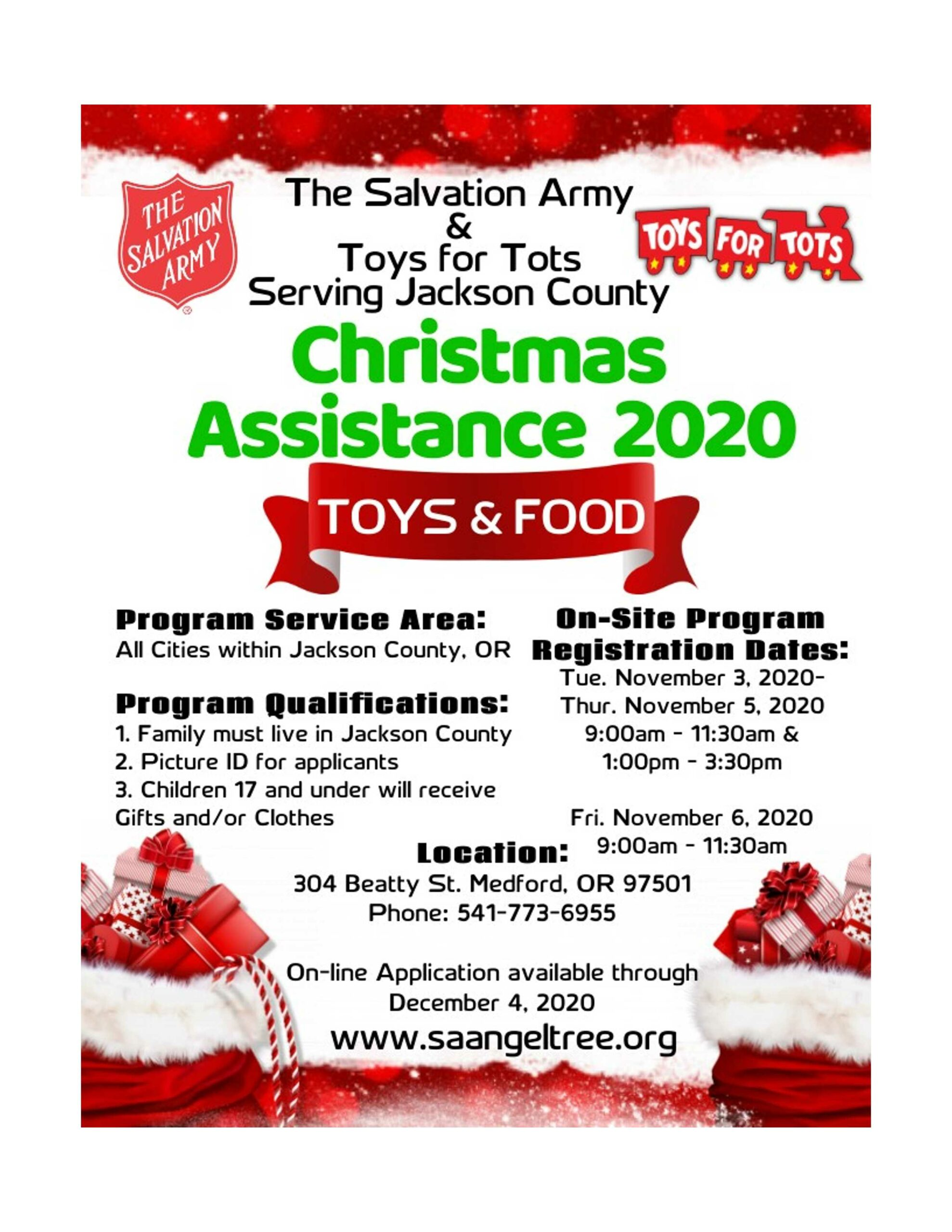 Christmas Flyer for Salvation Army. All Cities in Jackson County, at 304 Beatty St. in Medford