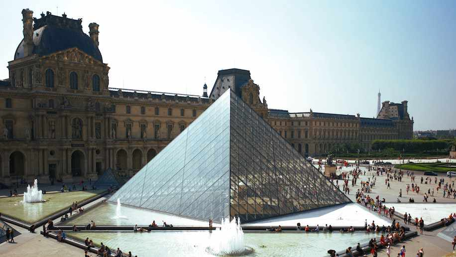 Pyramid outside of the Louvre