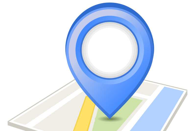 Blue pin on map