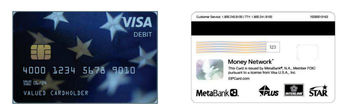 Sample photo of front and back of metabank debit card